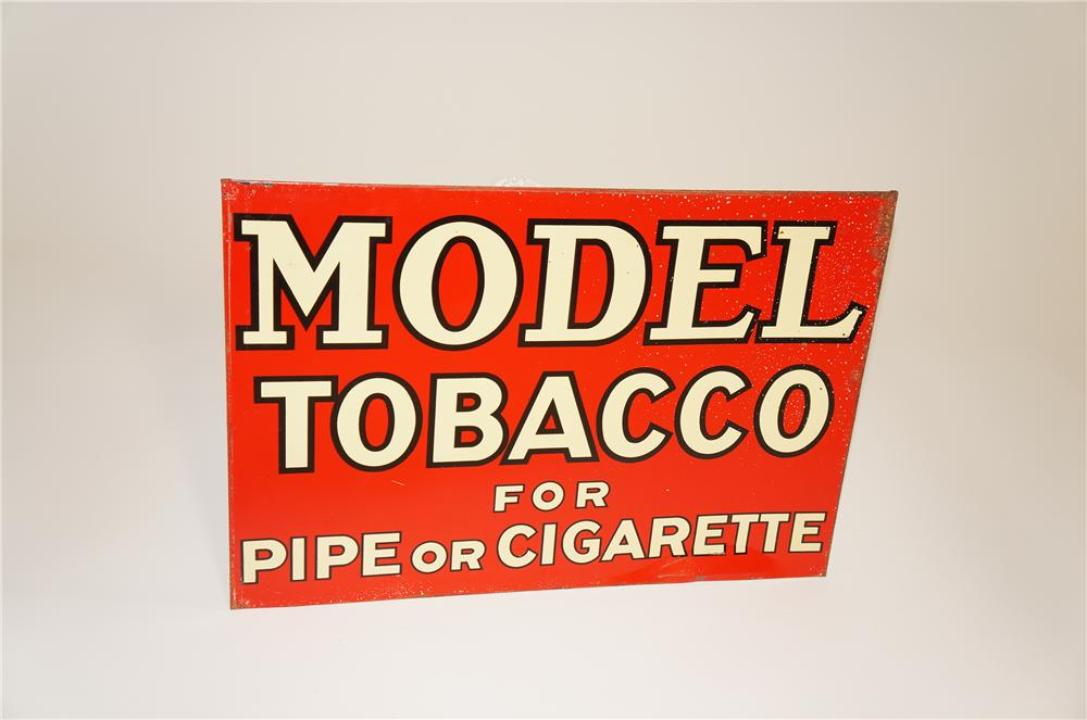 1938 Model Tobacco for Pipe or Cigarette tin general store sign. - Front 3/4 - 125501