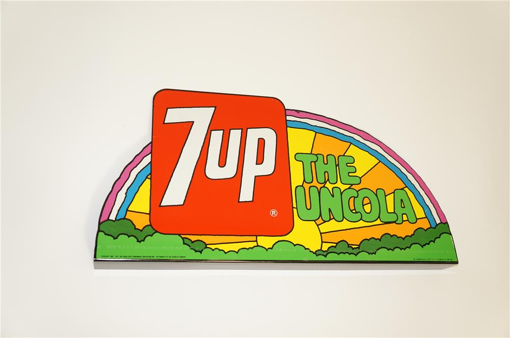 Fabulous N.O.S. 1960s-70s 7-up tin sign with Peter Max artwork.  Choice colors and found unused. - Front 3/4 - 125504