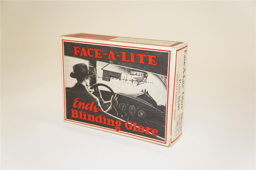 Interesting N.O.S. 1920s Face-A-Lite Automotive Night Time Glare device still in the original box. - Front 3/4 - 125512