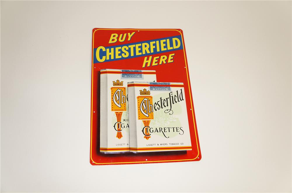 N.O.S. 1940s Chesterfield Cigarettes tin sign with embossed pack graphic. - Front 3/4 - 125559