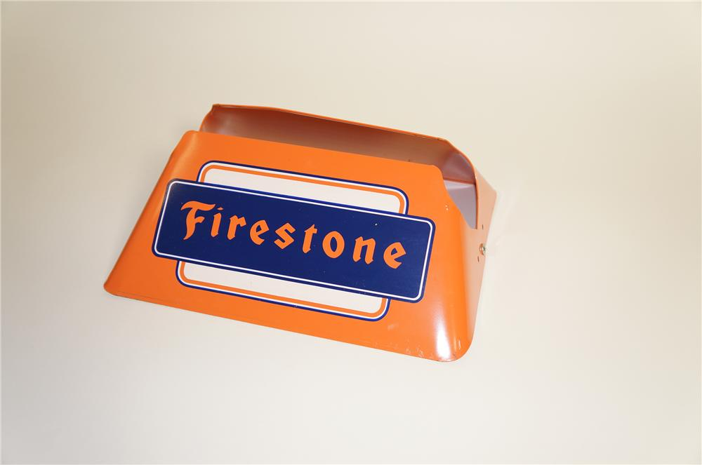 N.O.S. 1950s Firestone Tires automotive garage metal tire display stand.  Found unused! - Front 3/4 - 125560