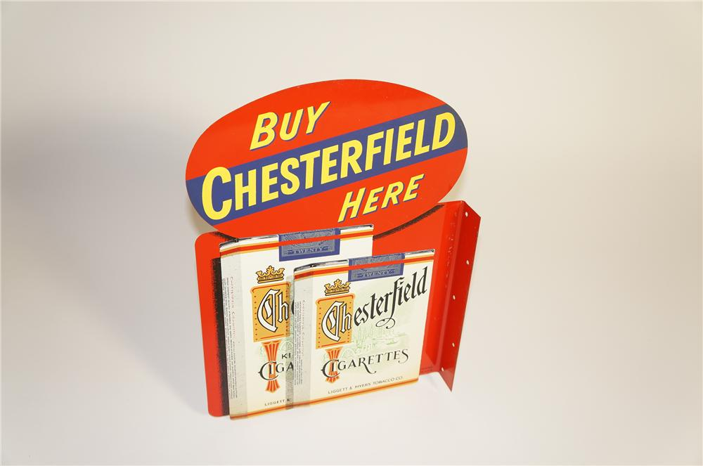 Striking N.O.S. 1940s Chesterfield Cigarettes tin painted flange sign. - Front 3/4 - 125562