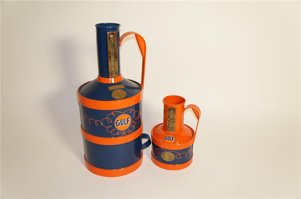 Lot of two rare 1920s Gulf Oil Dover gas pump accuracy measure cans.  Wonderfully restored. - Front 3/4 - 125567