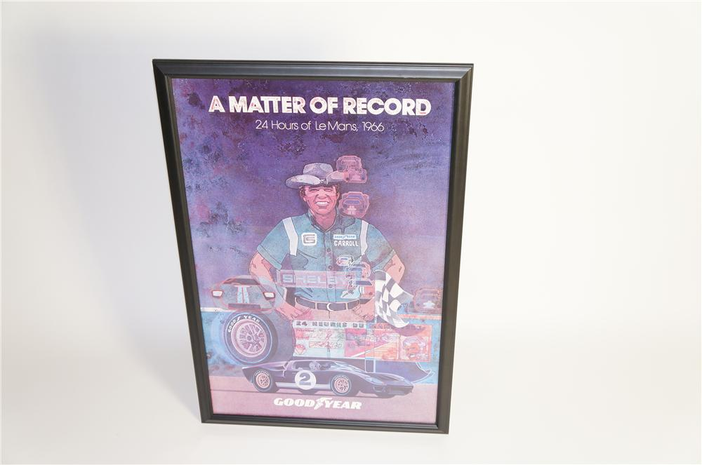 "1966 Caroll Shelby ""A Matter of Record"" 24 Hours of Lemans Shelby/Goodyear factory reprint poster. - Front 3/4 - 125575"