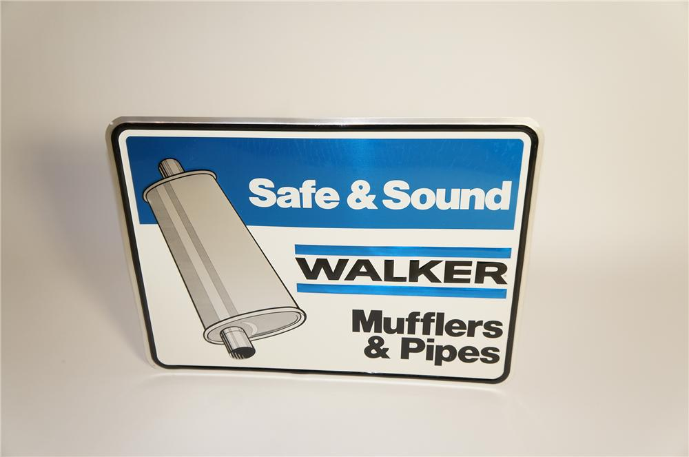 "Fabulous N.O.S. Walker Mufflers and Pipers ""Safe and Sound"" embossed tin garage sign. - Front 3/4 - 125578"