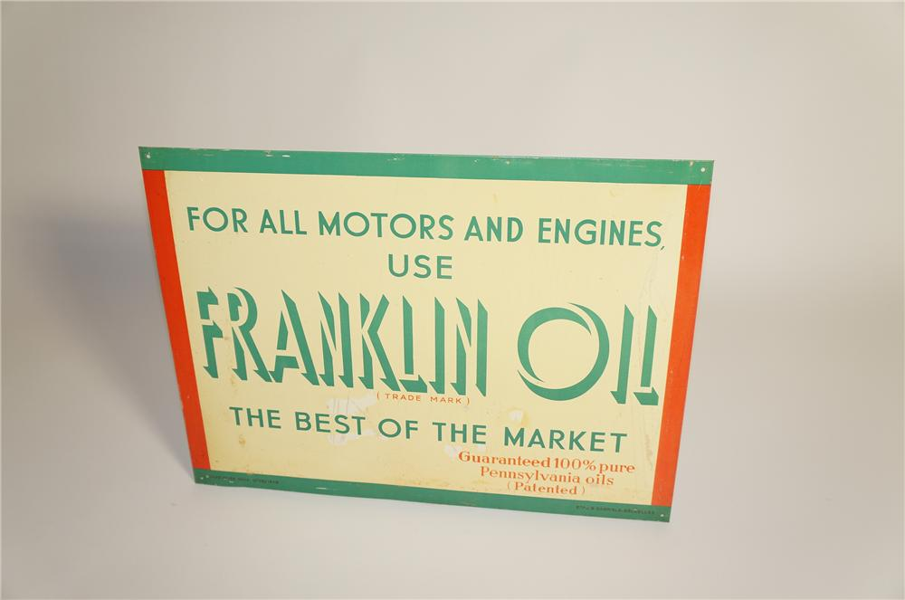 N.O.S. 1948 Fanklin Motor Oil single-sided tin painted garage sign.  Pulled out of the original shipping paper. - Front 3/4 - 125580