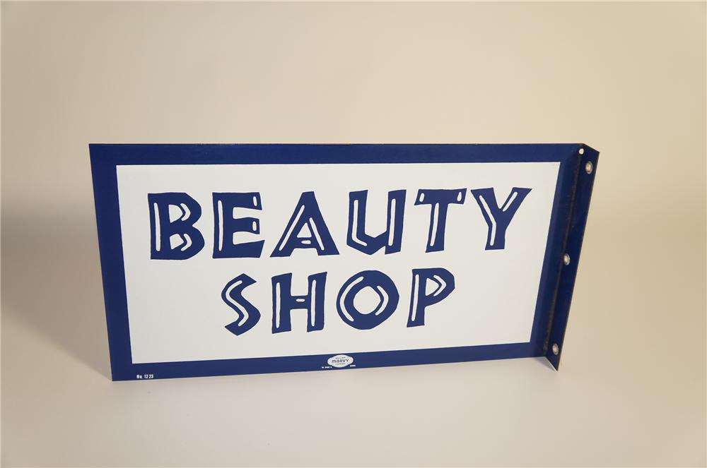N.O.S. late 1940s-50s Beauty Shop porcelain flange sign.  Pulled out of the original shipping crate. - Front 3/4 - 125582