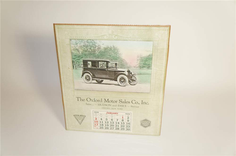 Museum quality 1926 Hudson-Essex of Oxford New York over-sized dealership calendar.  Found unused. - Front 3/4 - 125583