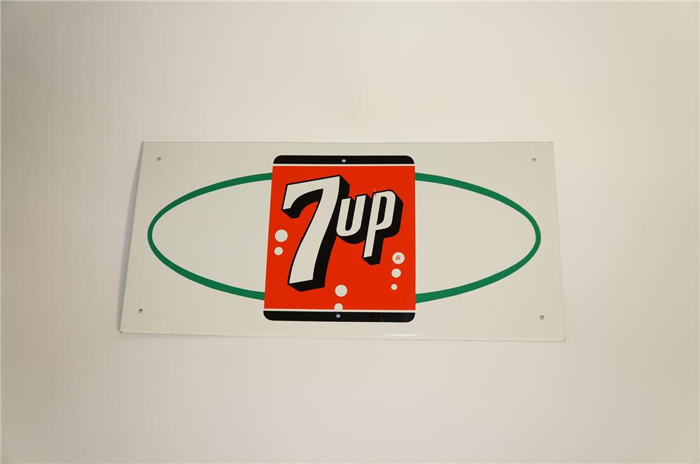 N.O.S. late 1950s-60s 7-Up soda tin sign with logo. - Front 3/4 - 125587