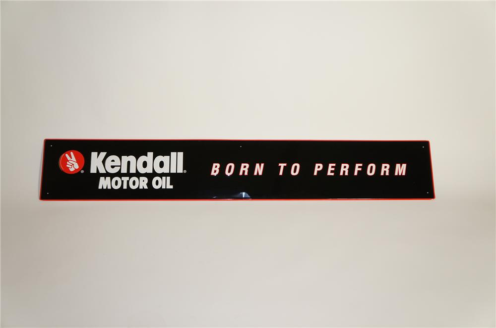 "N.O.S. Kendall ""Born to Perform"" horizontal embossed tin garage sign. - Front 3/4 - 125592"