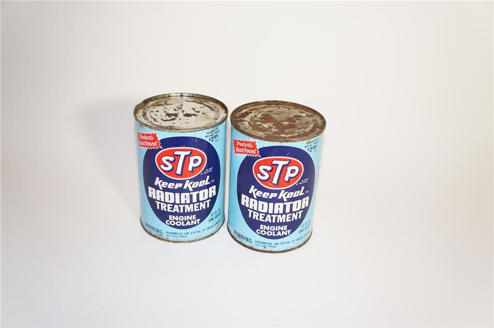 Lot of two vintage STP Keep Kool Radiator Treatment one-quart cans still full. - Front 3/4 - 125595