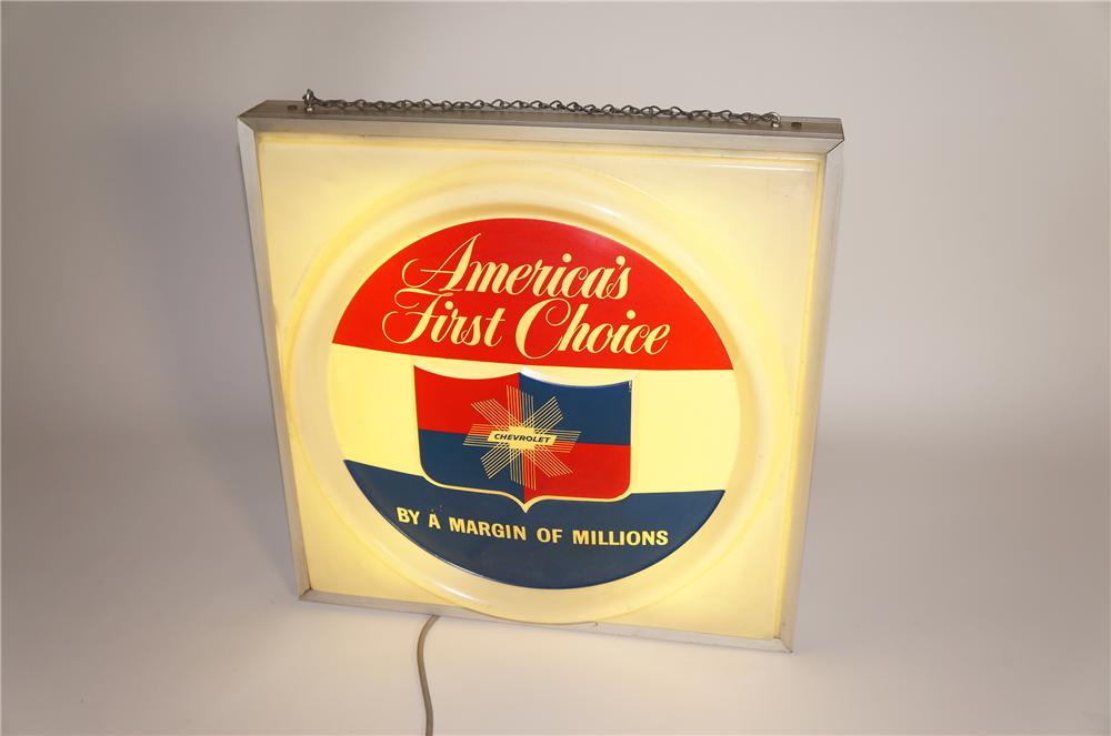 Fabulous 1950s Chevrolet Americas First Choice light-up dealership showroom sign. - Front 3/4 - 125599