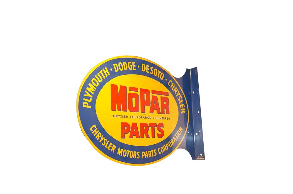 """Rare N.O.S. 1950s Mopar Parts """"Plymouth-Dodge-De Soto-Chrysler"""" double-sided tin painted garage flange. - Front 3/4 - 125602"""