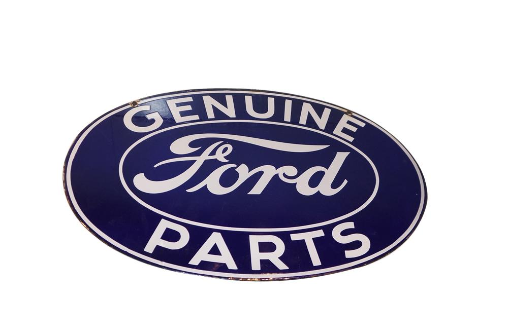 Worthy of bragging rights 1930s Ford Genuine Parts double-sided porcelain dealership sign. - Front 3/4 - 125603