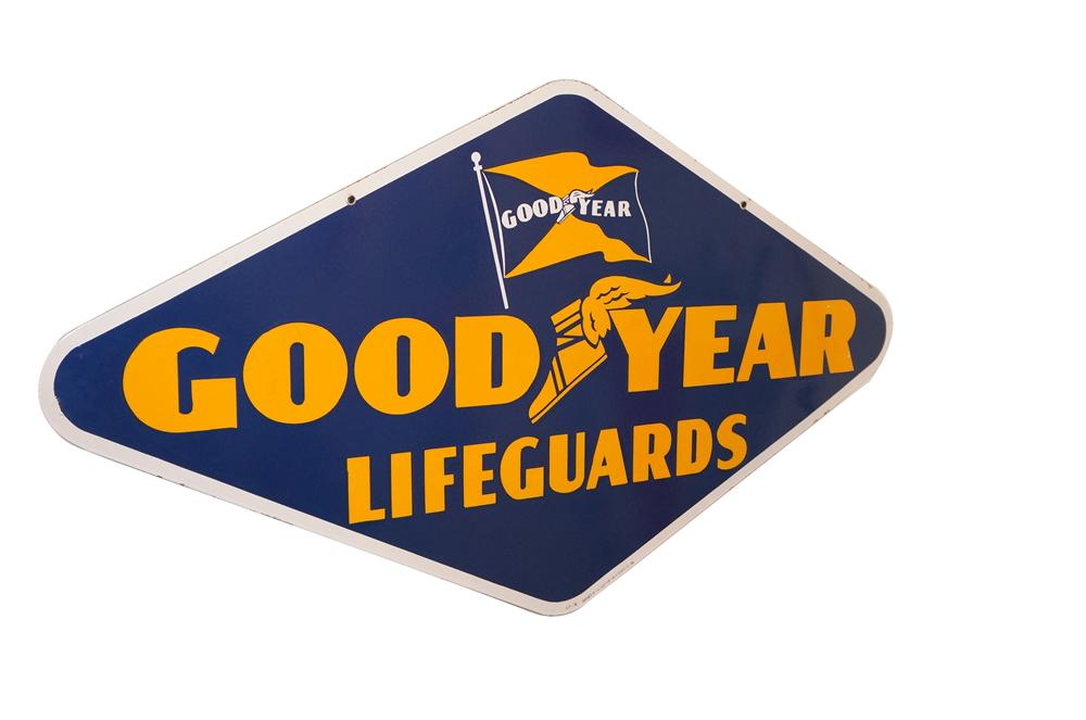 Stunning 1940s-50s Goodyear Lifeguards Tires double-sided porcelain service station sign. - Front 3/4 - 125605