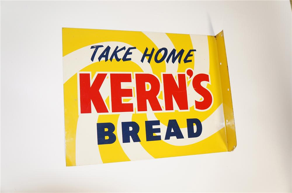 Very cool 1950s Kerns Bread double-sided tin painted general store flange sign. - Front 3/4 - 125609