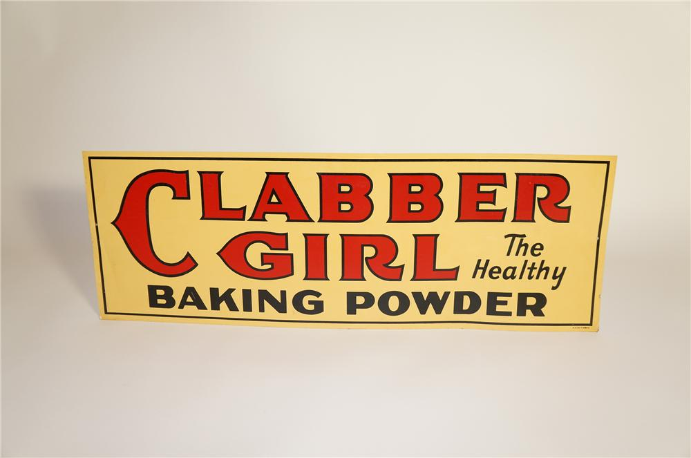 N.O.S. 1930s Clabber Girl Baking Powder double-sided tin painted general store sign. - Front 3/4 - 125616