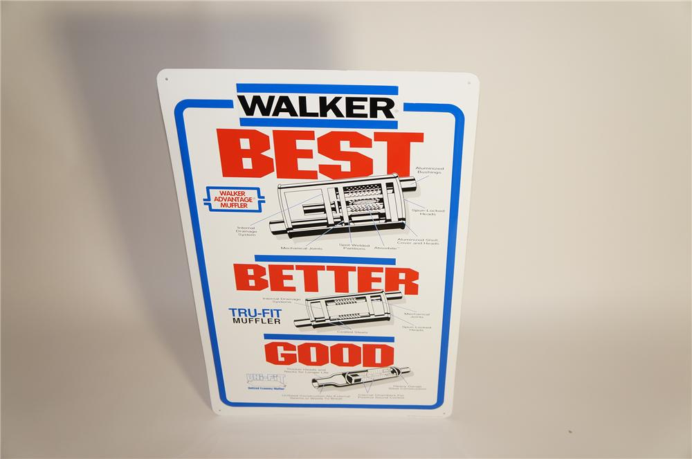N.O.S. Walker Mufflers embossed tin sign with muffler graphic. - Front 3/4 - 125618