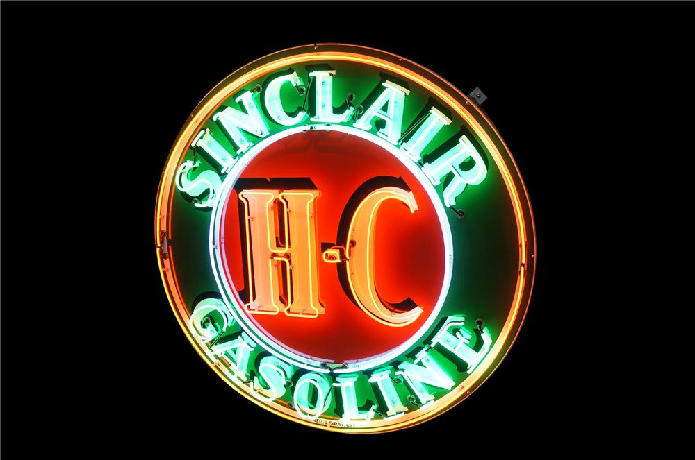 Large 1950s HC Sinclair Gasoline single-sided porcelain neon service station sign.  Very clean! - Front 3/4 - 125622