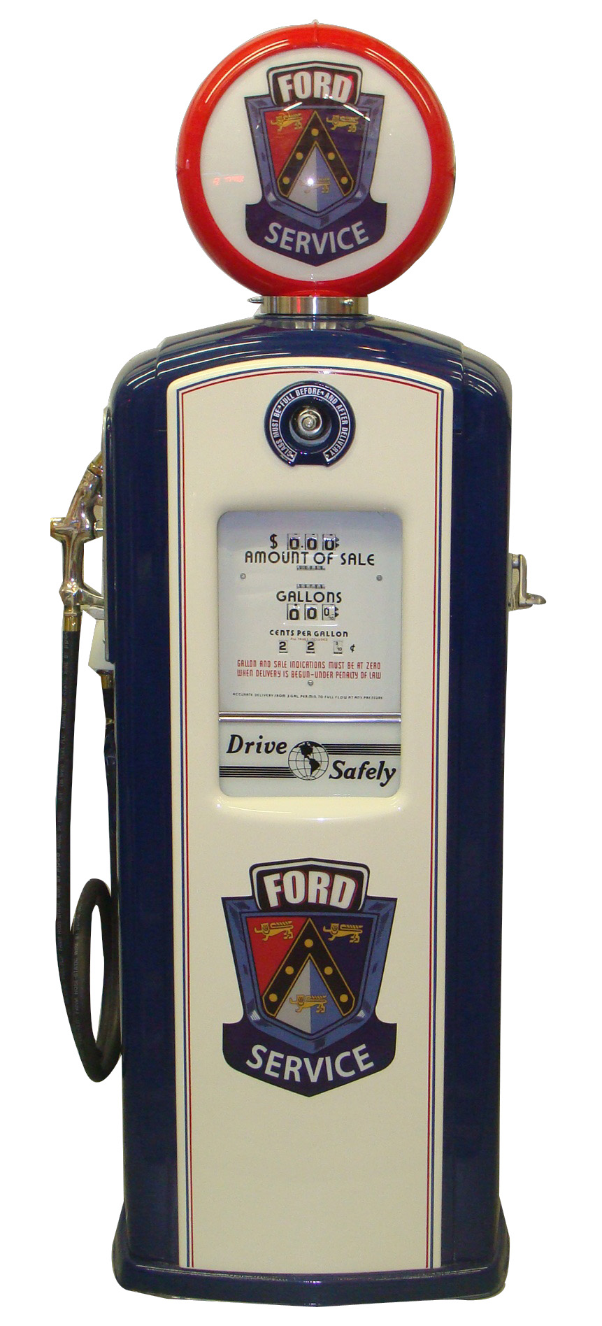 Stellar 1950s Ford Auto-dealership Bennett model #966 restored service department gas pump. - Front 3/4 - 125627