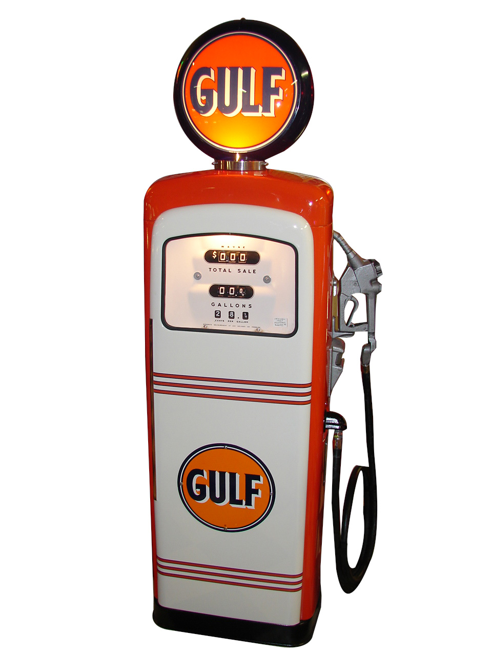 1951 Gulf Oil restored Wayne model #80 service station gas pump.  Restored to show car quality standards. - Front 3/4 - 125628
