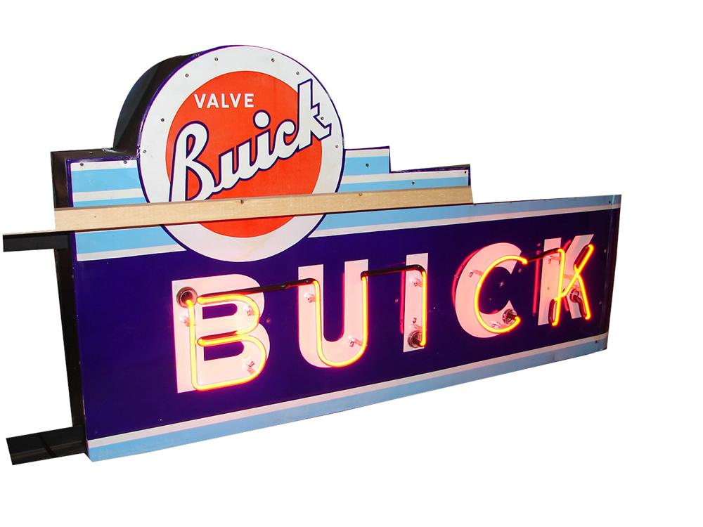 Phenomenal 1940s-50s Buick Automobiles double-sided porcelain dealership sign. - Front 3/4 - 125640