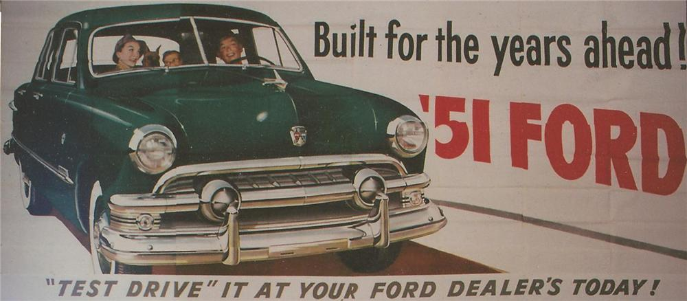 Magnificent N.O.S. 1951 Ford Automobiles roadside billboard sign.  Great for public or private display. - Front 3/4 - 125646