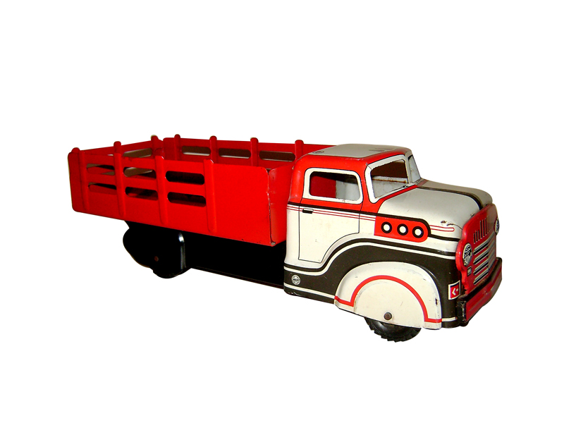 "Wonderful 1950s Louis Marx 13 12"" pressed steel stake bed truck with Red, White, Black graphics. - Front 3/4 - 125647"