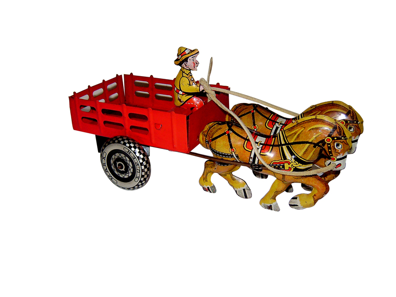 Simply superb N.O.S. 1940s Louis Marx Two Horse Cart with Driver.  Found unused in pristine condition. - Front 3/4 - 125651