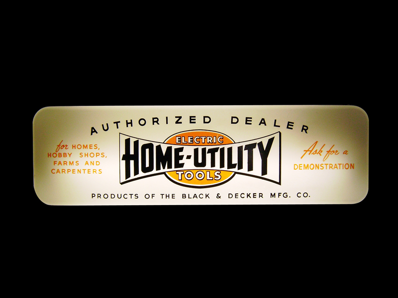 1950s Black and Decker Home - Utility Electric Tools Authorized Dealer light-up sign. - Front 3/4 - 125652