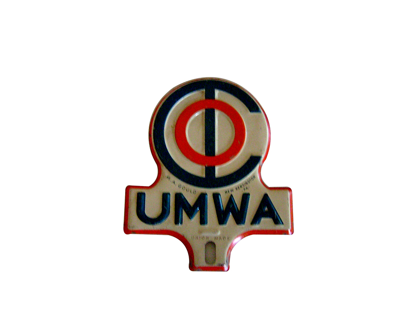 1940s United Mine Workers of America license plate attachment sign from New Kensington, PA. - Front 3/4 - 125654