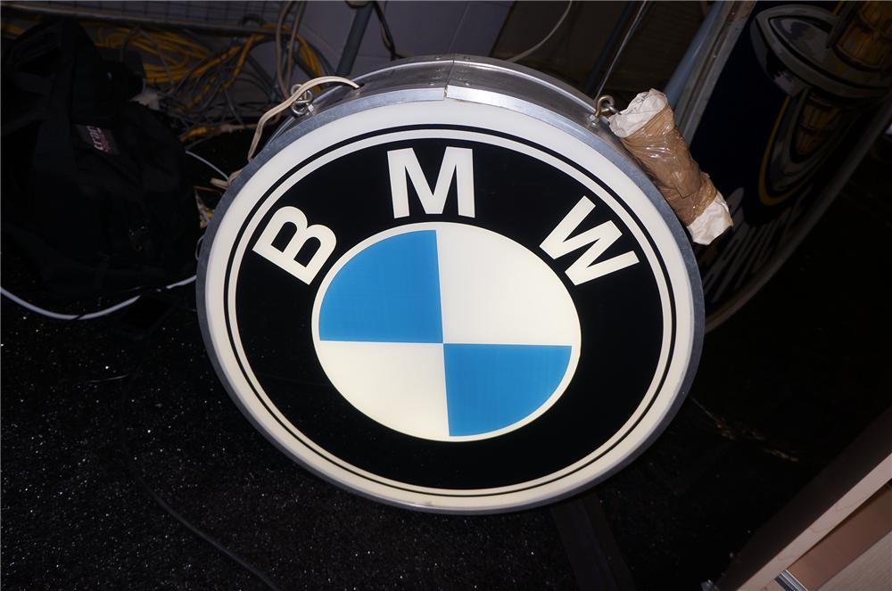Addendum Item- Sharp early 1980s BMW double-sided light-up dealership sign. - Front 3/4 - 129674