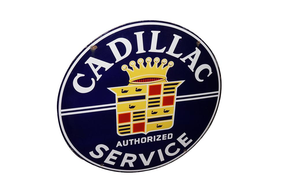 Highly prized 1950s Cadillac Authorized Service double-sided porcelain dealership sign. - Front 3/4 - 130450