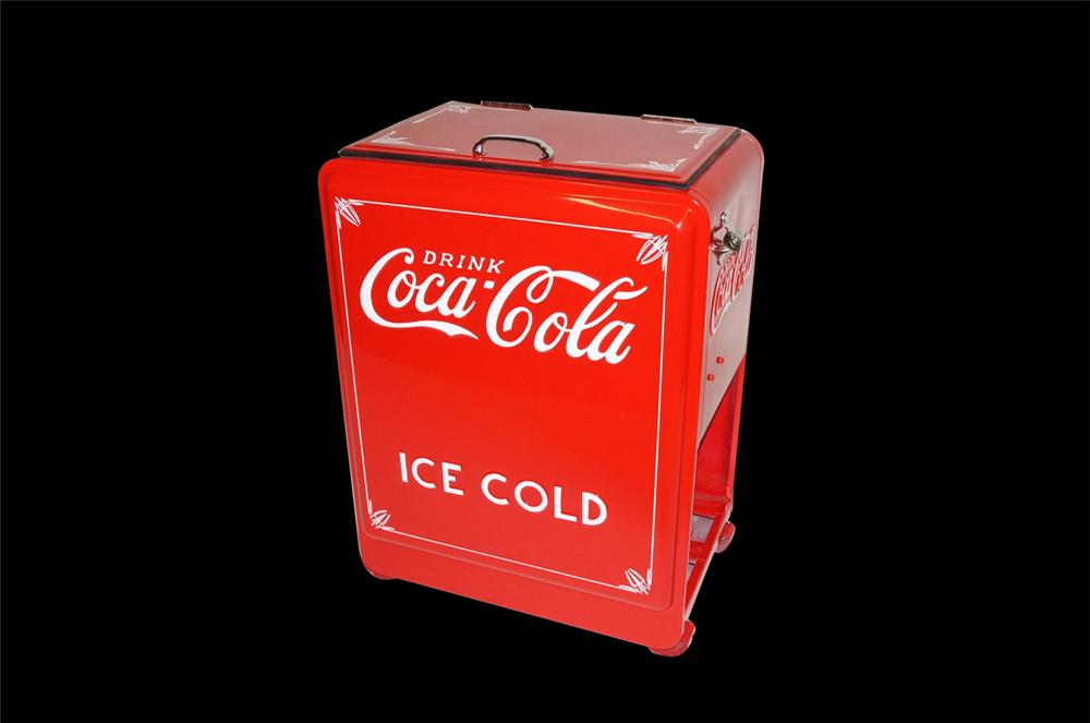 """Magnificently restored 1930s-40s Coca-Cola """"Princess"""" filling station soda cooler with case storage underneath. - Front 3/4 - 130451"""