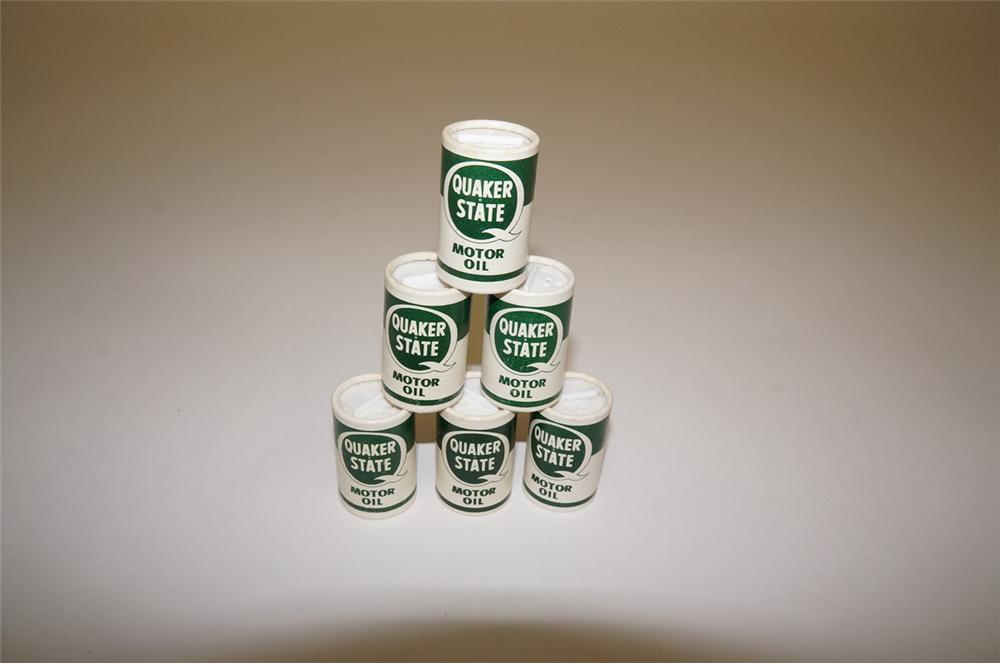 N.O.S. 1960s Quaker State promotional motor oil quart shaped salt shakers unused. - Front 3/4 - 130470