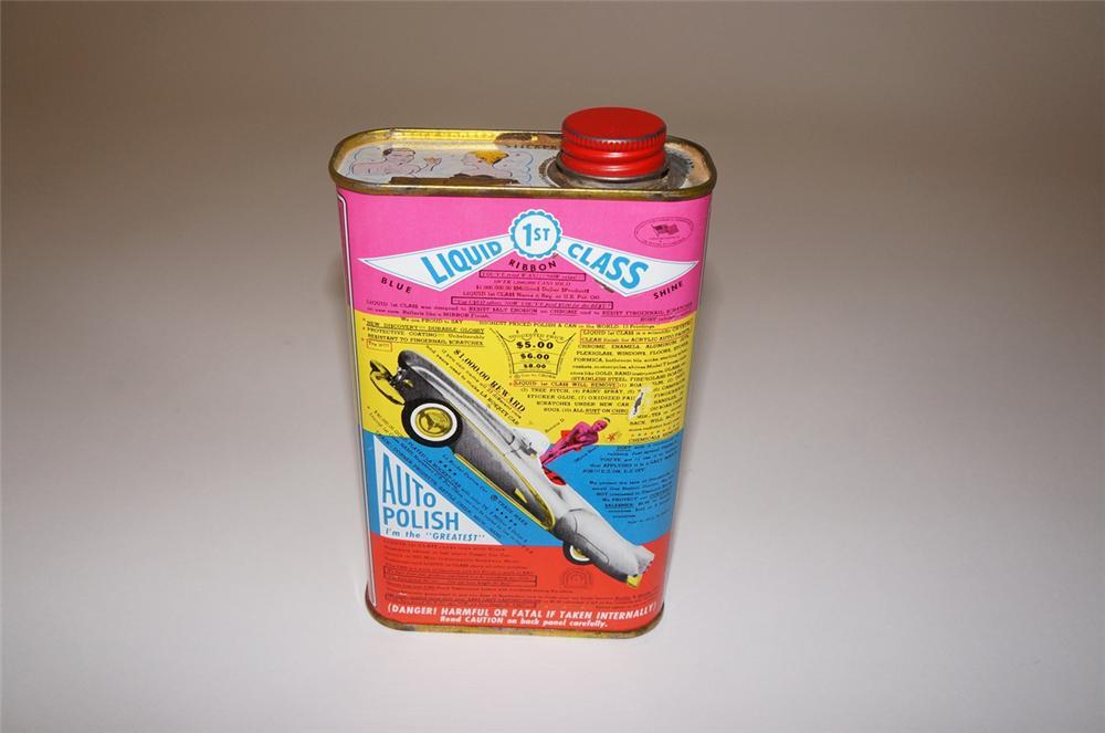 Very interesting 1950s Liquid Class Auto Polish tin with lots of neat graphics and product claims. - Front 3/4 - 130472