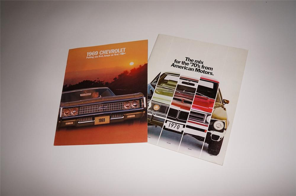 Lot of two N.O.S. showroom sales brochures for 1969 Chevrolet and 1970 American Motors. - Front 3/4 - 130473
