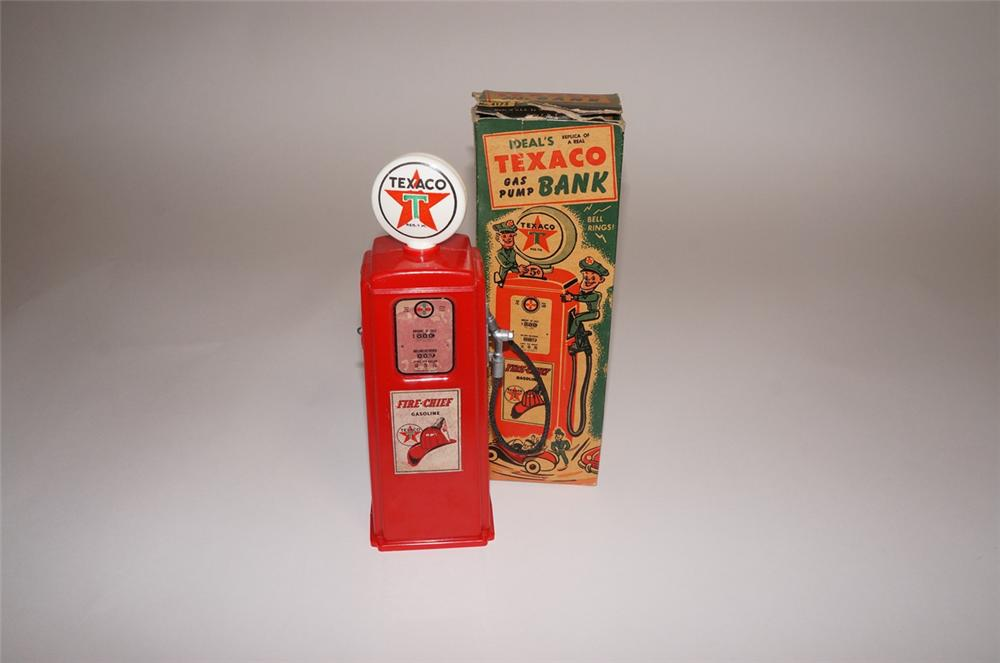 Nifty N.O.S. 1950s Texaco Oil promotional gas pump coin bank by ideal. - Front 3/4 - 130474