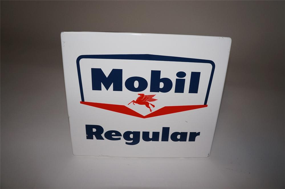 Late 1950s-60s Mobil Regular porcelain pump plate sign with Pegasus logo. - Front 3/4 - 130475
