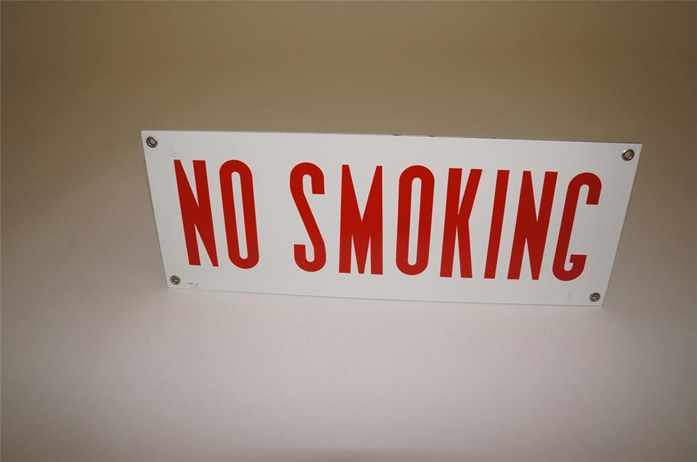 N.O.S. 1940s-1950s No Smoking single-sided porcelain service station service department sign. - Front 3/4 - 130477