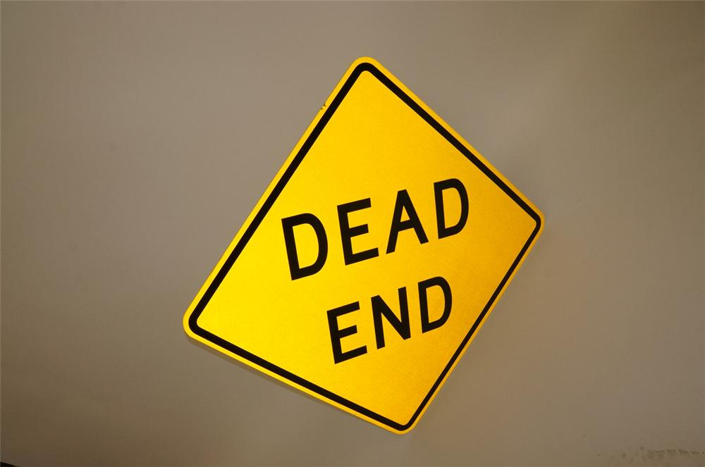 "N.O.S. ""Dead End"" metal highway road sign.  Found unused!  Condition: 9.5+  Size 41""x41"" - Front 3/4 - 130479"
