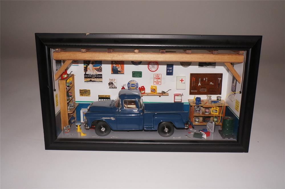 Hand built and highly detailed shadowbox of a garage featuring a 1950s Chevrolet pick-up. - Front 3/4 - 130480