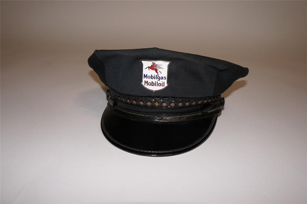 Nifty 1940s-50s Mobil Oil service station attendants hat with original Mobilgas-MobilOil hat badge. - Front 3/4 - 130483