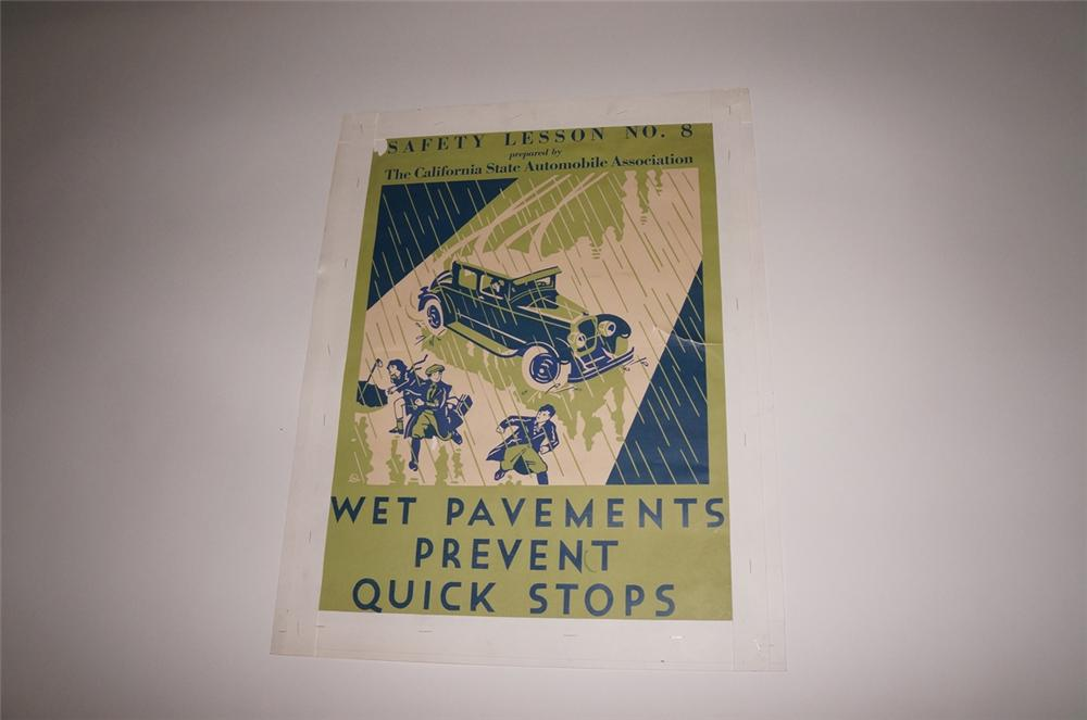 "1933 California State Automobile Association safety poster ""Wet Pavement Prevent Quick Stops"". - Front 3/4 - 130484"