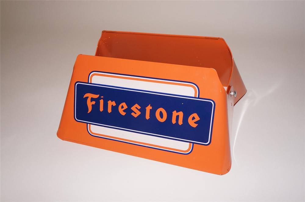 N.O.S. 1950s Firestone Tires automotive garage metal tire display found unused. - Front 3/4 - 130491