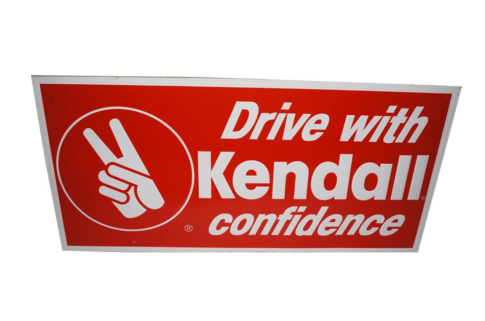 """Large N.O.S. Kendall Motor Oil """"Drive with Confidence"""" embossed tin garage sign. - Front 3/4 - 130492"""