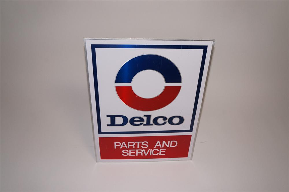 Very nice 1970s GM Delco Parts and Service double-sided tin dealership sign. - Front 3/4 - 130493