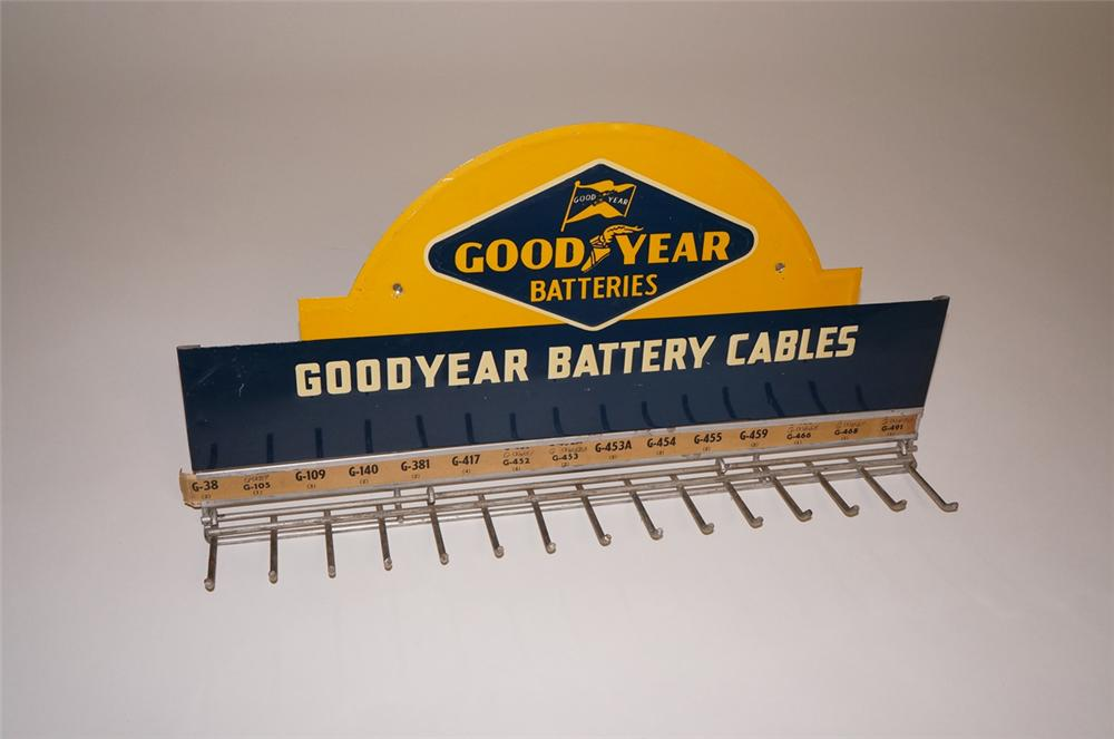 Very clean 1950s Goodyear Batteries service department battery cable display sign/rack. - Front 3/4 - 130497