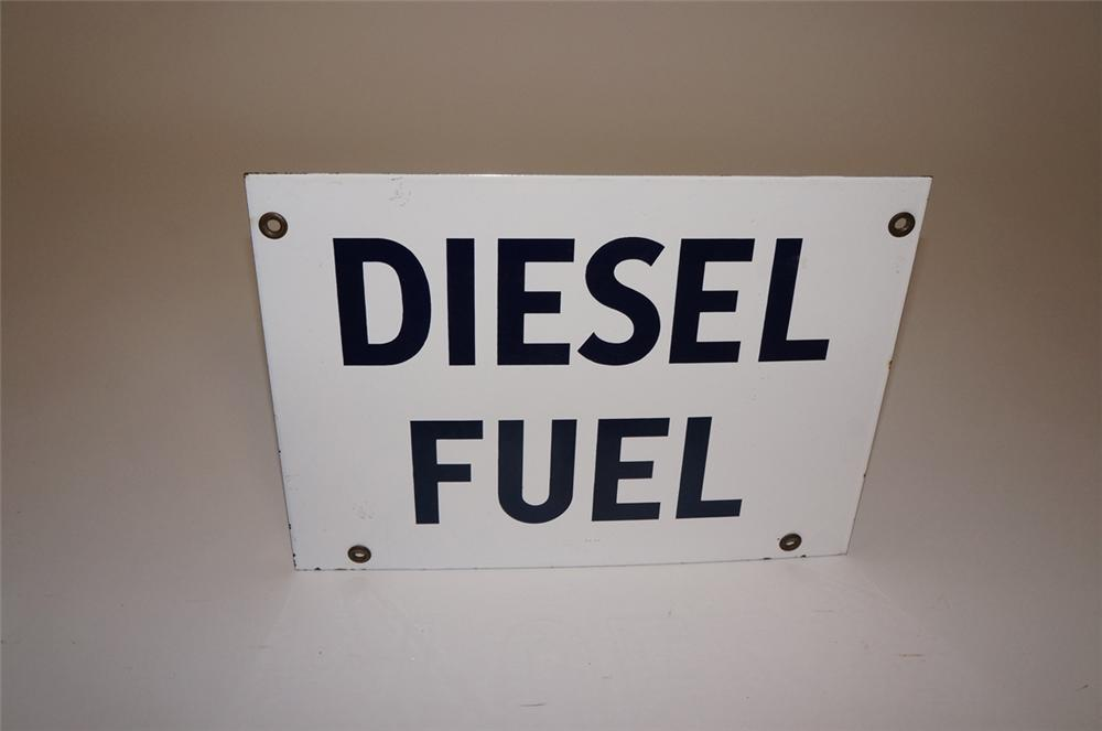 1950s N.O.S. Diesel Fuel gas pump porcelain pump plate sign. - Front 3/4 - 130498