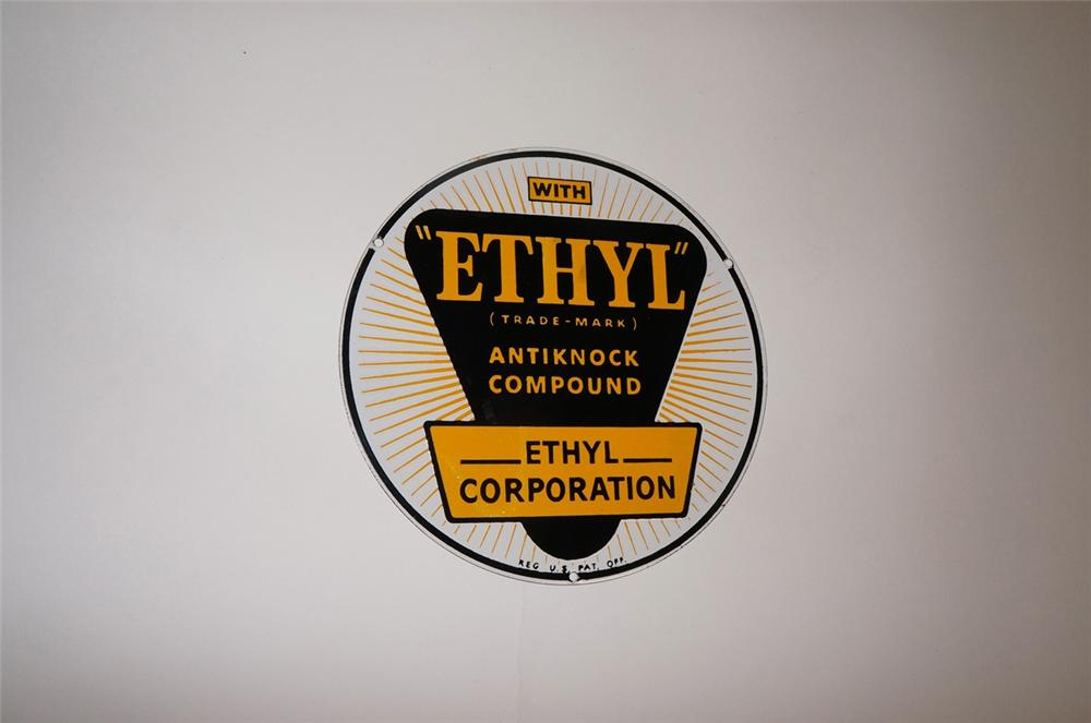 "1940s N.O.S. ""With Ethyl"" Ethyl burst porcelain pump plate sign. - Front 3/4 - 130499"